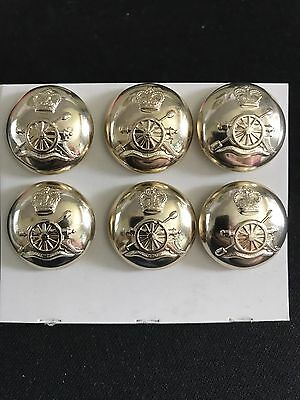 6 X Royal Artillery Buttons, Gold Gilt, 25mm ,Brand New