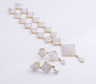 Indian Fashion Jewellery Party Wear Ad Diamond Necklace Set With Earrings