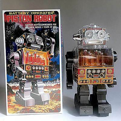 Battery Operated Piston Robot Old Type S.H. Horikawa Vintage Tin Toy Japan 191