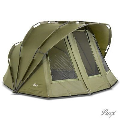 Lucx® 2 Man Bivvy Angelzelt Karpfenzelt 2 Mann Angeln Zelt Carp Dome Fishing Ten