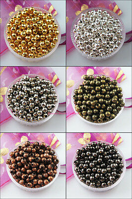 25 New Gold Silver Bronze Copper Plated Round Ball Metal Spacer Beads Charms 8mm
