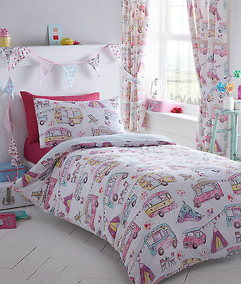 Kid's Glamping Campervan Reversible Duvet Set Single, Double & Curtains