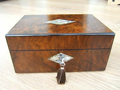 Wonderful 19C Victorian  Antique Walnut Inlaid Jewellery Box - Fab Interior