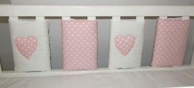 New **Babies Baby Pink & white spots with Applique Heart  Cot Bar Bumpers 8 pack