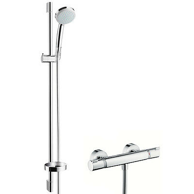 Hansgrohe Ecostat Comfort combi set thermostatic shower mixer chroma hand shower