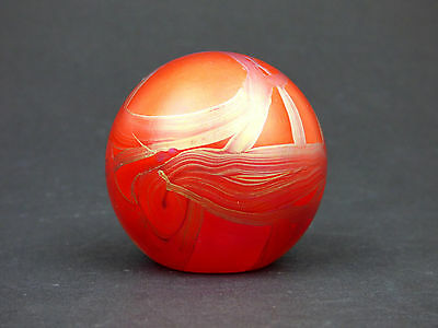 Isle of Wight Studio Glass red Ribbons paperweight label Elizabeth Harris 1988