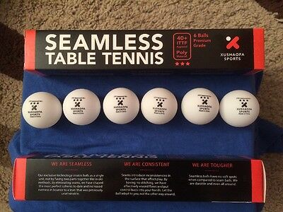 Box of 6 New Plastic Xushaofa 3 Star Seamless Table Tennis Balls