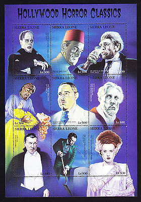 Sierra Leone Hollywood Horror Classics Block of 9 stamps Wolf Man Dracula etc