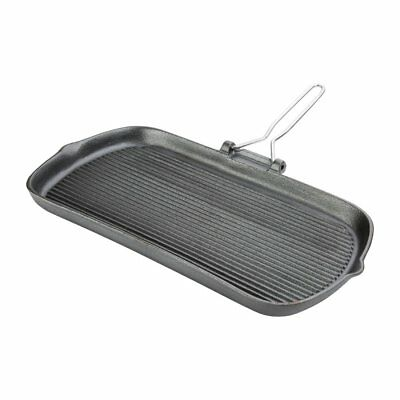 Vogue Cast Iron Grill Pan Non Stick Kitchen Cooking Heavy Duty Cookware