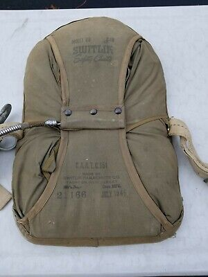 US Military  Back Pack Parachute Switlik Quick Release. Dated 1946