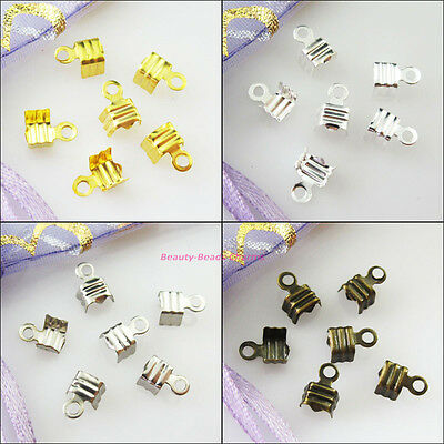 100 New Gold Silver Bronze Plated Fold Over End Cord Crimp Bead Caps 4.5x11mm