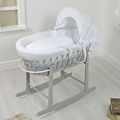 New Grey Wicker / WHITE Padded Baby Moses Basket Waffle Clair De Lune Basket