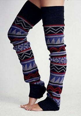 FREE PEOPLE Loveland Thigh Hi Leg Warmers Socks Aztec Geo Print Navy Gray NWT