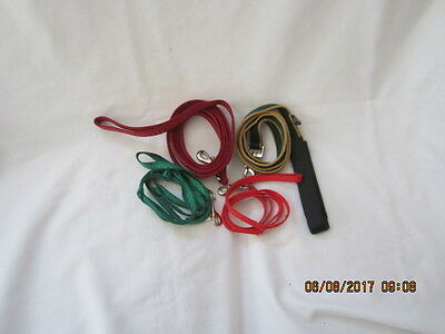 "Preowned Lot of Four Cat or Small Dog Leashes - 45"", 2 @ 50"" & 68"""