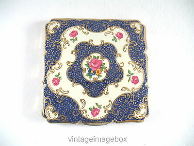 Vintage Stratton powder compact, square shape, pink roses, blue gold pattern