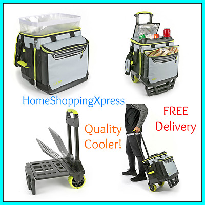 Food Cooler Box Travel Camping Picnic Cool Bag Insulated Cart Trolley Wheels NEW