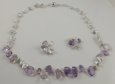 Fine Amethyst nugget & White Keshi Pearl Crystal Set Magnetic Clasp 21 inches