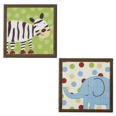 Jungle Talk Canvas Art 2 Piece Set Baby Nursery Elephant Zebra Wall Decor