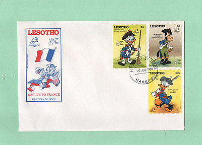 Philex France 89 First Day Of Issue Envelope With Stamps Lesotho Walt Disney