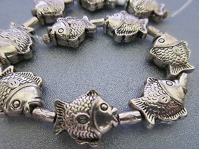 10pcs Fish Silver Plated Spacers