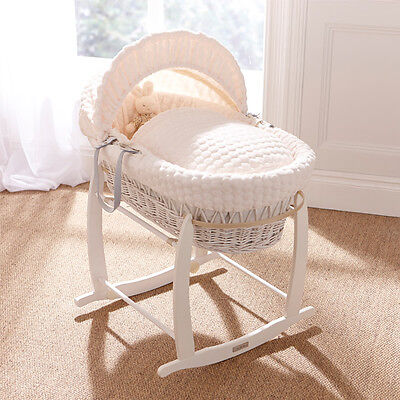 White Wicker / Clair De Lune Cream Padded Baby Moses Basket Cream Marshmallow