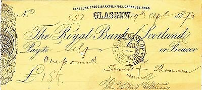 The Royal Bank Of Scotland Cheque, Garscube Cross Branch, Glasgow £1 (Apr 1873)