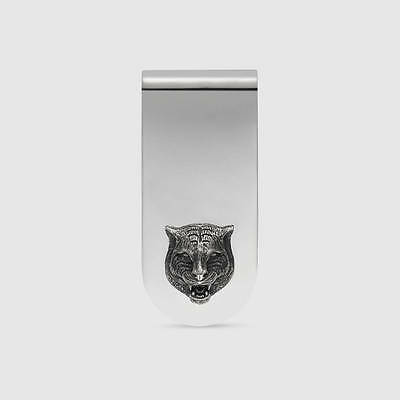GUCCI GHOST silver MONEY CLIP WITH FELINE HEAD TIGER MONEYCLIP  YBF478651001