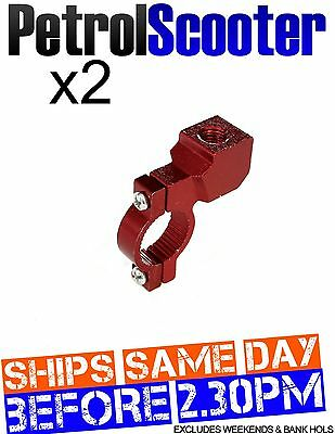 2 Red Motorcycle Mirror Mount Clamp 22mm HandleBar Motor Cycle Bike Scooter