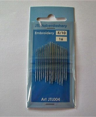 PACK of 16 EMBROIDERY NEEDLES size 5/10
