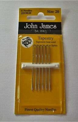 John James PACK of 6 TAPESTRY NEEDLES size 20