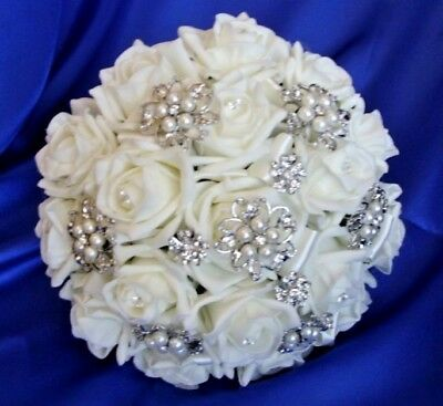 Brides vintage wedding bouquet Ivory roses brooches diamante buttons