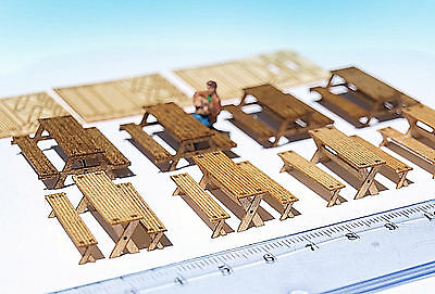 Miniature Picnic table bench KIT HO OO scale model camping dollhouse diorama :87