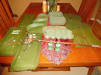 Antique Schoenhut Male Golfer With The Golf Course And Many Accessories
