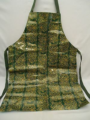 HARRODS KNIGHTSBRIDGE PVC Coated Cotton Cloth Apron Made in UK Green & Gold
