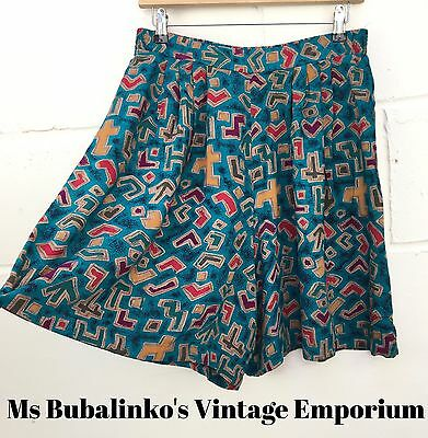 Vintage 90s Abstract Crazy Pattern High Waist Culottes Shorts Size 12 14