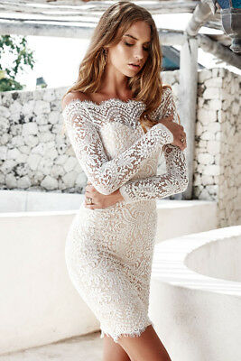 759feee33c Ladies Bodycon White Lace Off the shoulder Mini Party Dress Long sleeved  Size 10