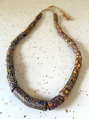 Full Strand 31 Antique Multi-Colored African Millefiori Glass Trade Beads