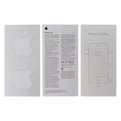 User Guide and Welcome Card for Apple iPhone 6s Plus - Apple Sticker Included