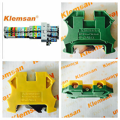 Top hat din rail earth terminals connecters 4mm & 10mm yellow/green