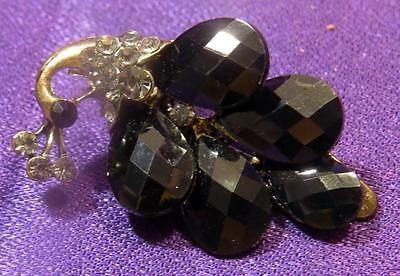 "Vintage 1-5/8""  Scarf Clip Black Pear Shaped faceted Glass [j70-56]"