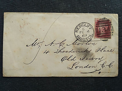 Great Britain Qv Penny Red  Plate ? Used On Cover Redcliff To London E.c.