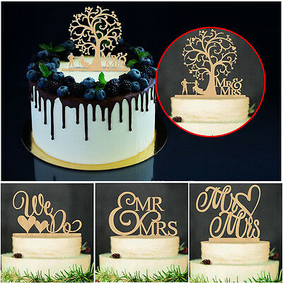 Personalized Wooden Cake Topper Mr & Mrs Rustic Wedding Party Table Cake Decor