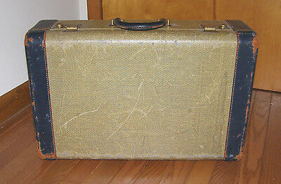 TRUE VINT. 1940's LUGGAGE TRAVEL CASE WITH TWEED CANVAS + NAVY BLUE LEATHER TRIM