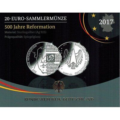 """2017 Germany 20 Euro Silver Proof Coin """"Protestant Reformation 500 Years"""""""