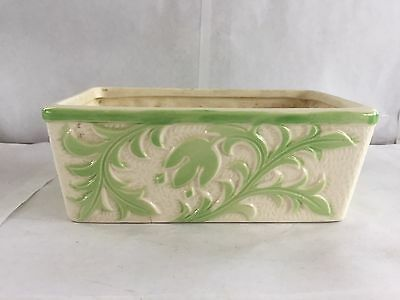 Vintage Made Occupied Japan Horseshoe Mark Ceramic Planter Green Hand Painted