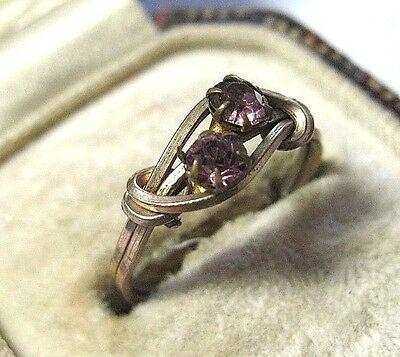 Vintage Antique Art Deco Rolled Gold Amethyst Crystal Bead Wire Work Ring K 5
