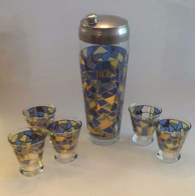 Vintage Mosaic Stained Glass Cocktail Shaker CHROME Set of 5 Drinking Glasses