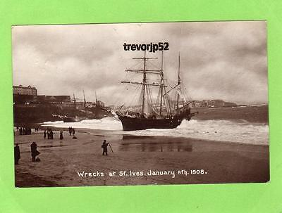 St Ives Shipwreck wreck 1908 RP pc used 1908 Ref A566