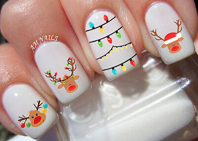 Reindeer Nail Art Stickers Transfers Decals Set of 22
