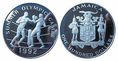 JAMAICA KM 76  100 Dollars Olympiade 1992 Boxen in PP Proof 472018